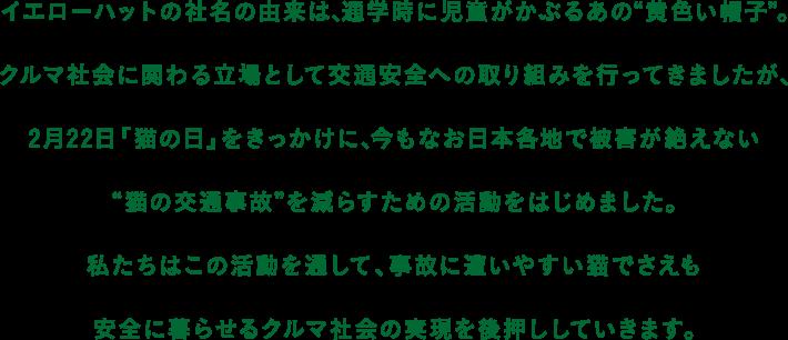 """イエローハットの社名の由来は、通学時に児童がかぶるあの""""黄色い帽子""""。 クルマ社会に関わる立場として交通安全への取り組みを行ってきましたが、2月22日「猫の日」をきっかけに、今もなお日本各地で被害が絶えない""""猫の交通事故""""を減らすための活動をはじめました。 私たちはこの活動を通して、事故に遭いやすい猫でさえも安全に暮らせるクルマ社会の実現を後押ししていきます。"""